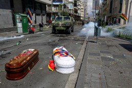 bolivia coup coffins protest